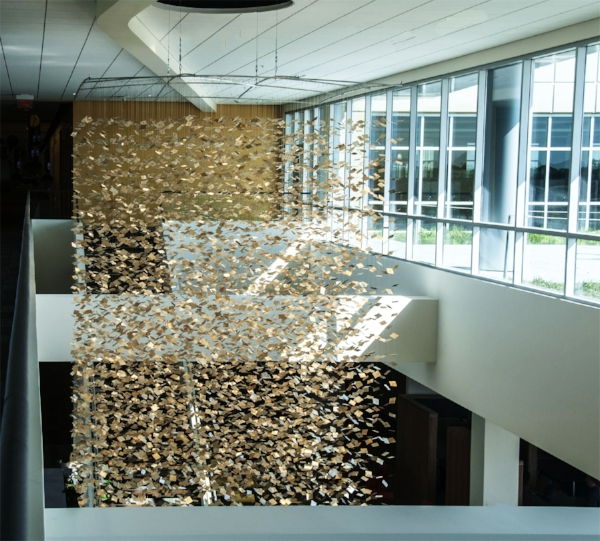 Rain - GFS :  silver leaf on DuraLar : 15'h x 10'w x 10'd  History: This was commissioned by and is hanging in the atrium of the headquarters of Gordon Food Services, outside of Grand Rapids, Michigan