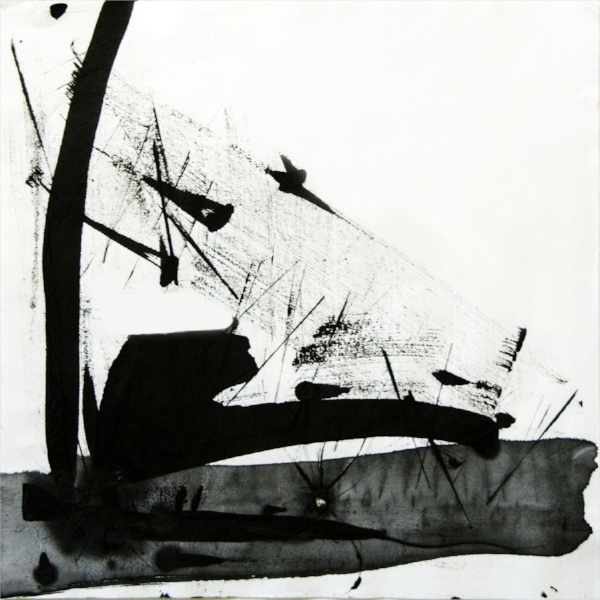 "sumi pond  : original ink drawing, scanned into the computer : edition of 25 : pigment ink on archival paper : 22"" x 22"""