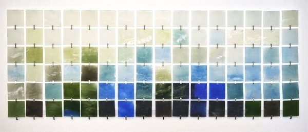 """Secret Life of Waves  : beeswax + pigment on 4"""" square acrylic pieces, fabricated stainless steel hangers : 26""""h x 72""""w"""