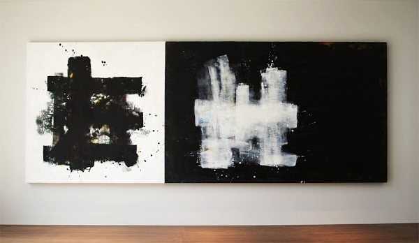 "JoTi  (in situ) : beeswax + pigment on 2 wood panels : 3'h x 9'w x 2""d"