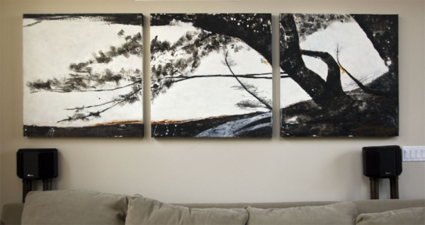 """Path  : beeswax + pigment on 3 wood panels : 3'h x 9'w x 2""""d"""