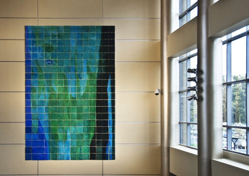 Ebb and Flow  : beeswax + pigment on 1' square acrylic panels, fabricated hangers : 20'h x 14'w. History: This was commissioned by and hangs in Beaumont Hospital, Troy Michigan.