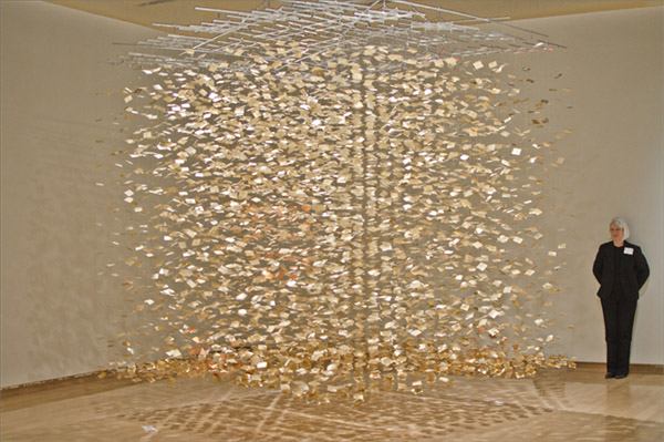 Rain - Art Prize  : silver leaf on DuraLar, fabricated steel connectors, aluminum support, monofilament : 10'h x 10'w x 10'd  History:  Rain  won third place in Art Prize 2011. It was on display in the Grand Rapids Public Museum, Grand Rapids, Michigan. There is a video of  Rain - Art Prize  on   youtube