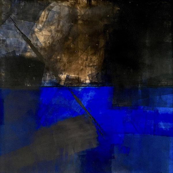 "Blue Lightning  : oil pigment stick, cold wax : 40""h x 40""w : $2500 : by Lynda Cole"