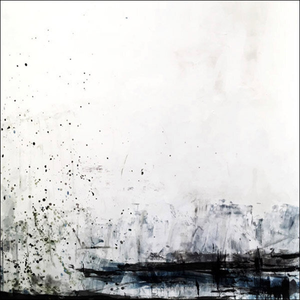"Snowstorm on the Glacier : oil pigment stick, cold wax : 40""h x 40""w : $2500 : by Lynda Cole"