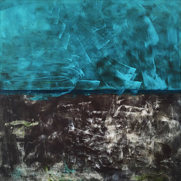 """Entering Turquoise Space  : oil pigment stick, cold wax : 40""""h x 40""""w : $2500 : by Lynda Cole"""
