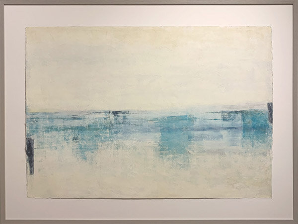 """Unencumbered Reflection  : 40""""h x 52""""w framed, 30""""h x 42""""w, unframed : oil pigment stick, cold wax : $2560 by Lynda Cole"""