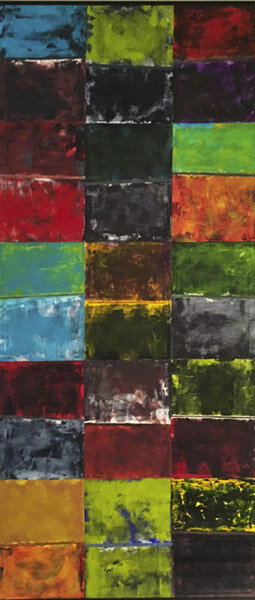 "Shape and Color :  oil pigment stick, cold wax on Rives BFK paper : 96""h x 42""w : hangs by Poster Hanger but it could be framed : $5000 : by Lynda Cole"