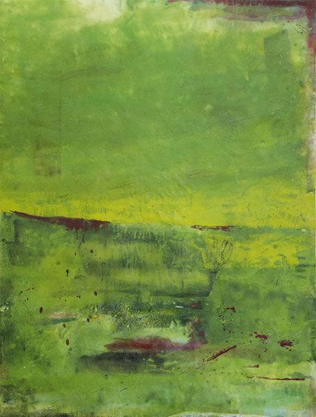 "Green :  encaustic on wood panel : 4'h x 3'w x 2""d : $3120 : by Lynda Cole"