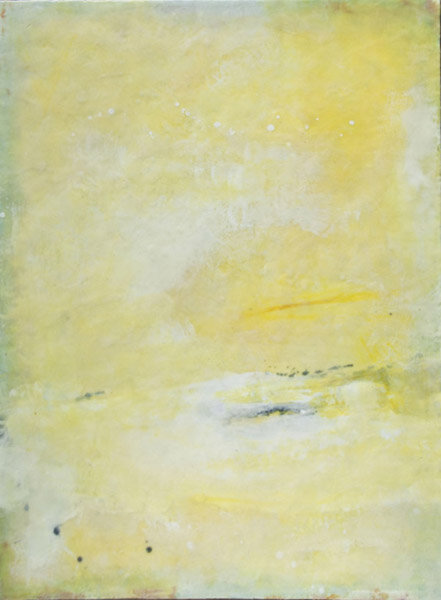 """Yellow :  encaustic on wood panel : 4'h x 3'w x 2""""d : can hang vertically or horizontally : $3120 : by Lynda Cole"""