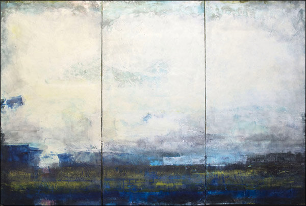 """Cloud and Mystery  : encaustic on canvas on Gator Board in 3 panels : 4'h x 6'w x 1.5""""d : $6240 by Lynda Cole"""