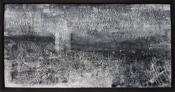 "Weather Pattern :  encaustic on wood panel, Shou sugi ban frame : 25""h x 50""w x 2""d : $2200 by Lynda Cole"