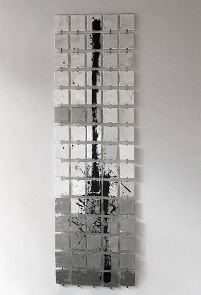 """Moonwalk  : silver leaf, palladium leaf, ink on 4"""" squares of acrylic panel, fabricated hangers. This hangs out from the wall about 1 inch : 72""""h x 22""""w x 1.5""""d : $3000 : By Lynda Cole"""
