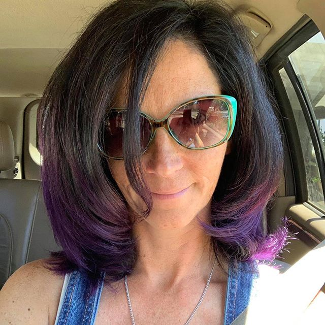 Thank you @lavae.hair.and.cosmetics (my daughter, Shasta) for doing my hair and making me feel pretty and alive again.  I love you!!! #purplehairdontcare #marcellelavae #lovemydaughter #freshcolor #refreshedme #lavaehairandcosmetics #feelingawesome