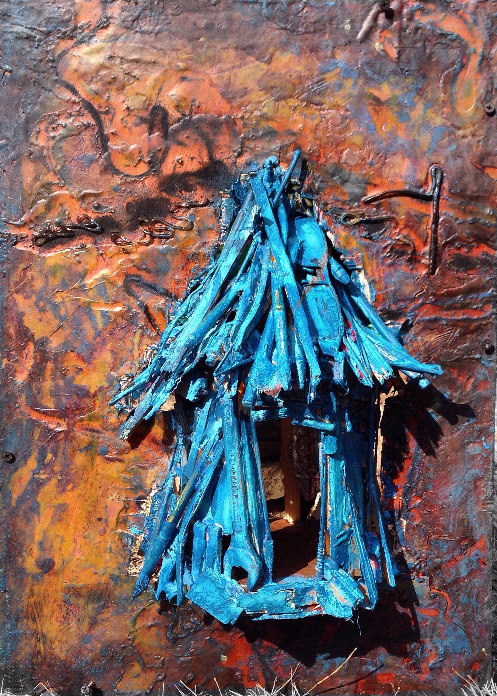 Home I   ~ Found objects and encaustic on panel ~ 22x15x9in ~ 2015