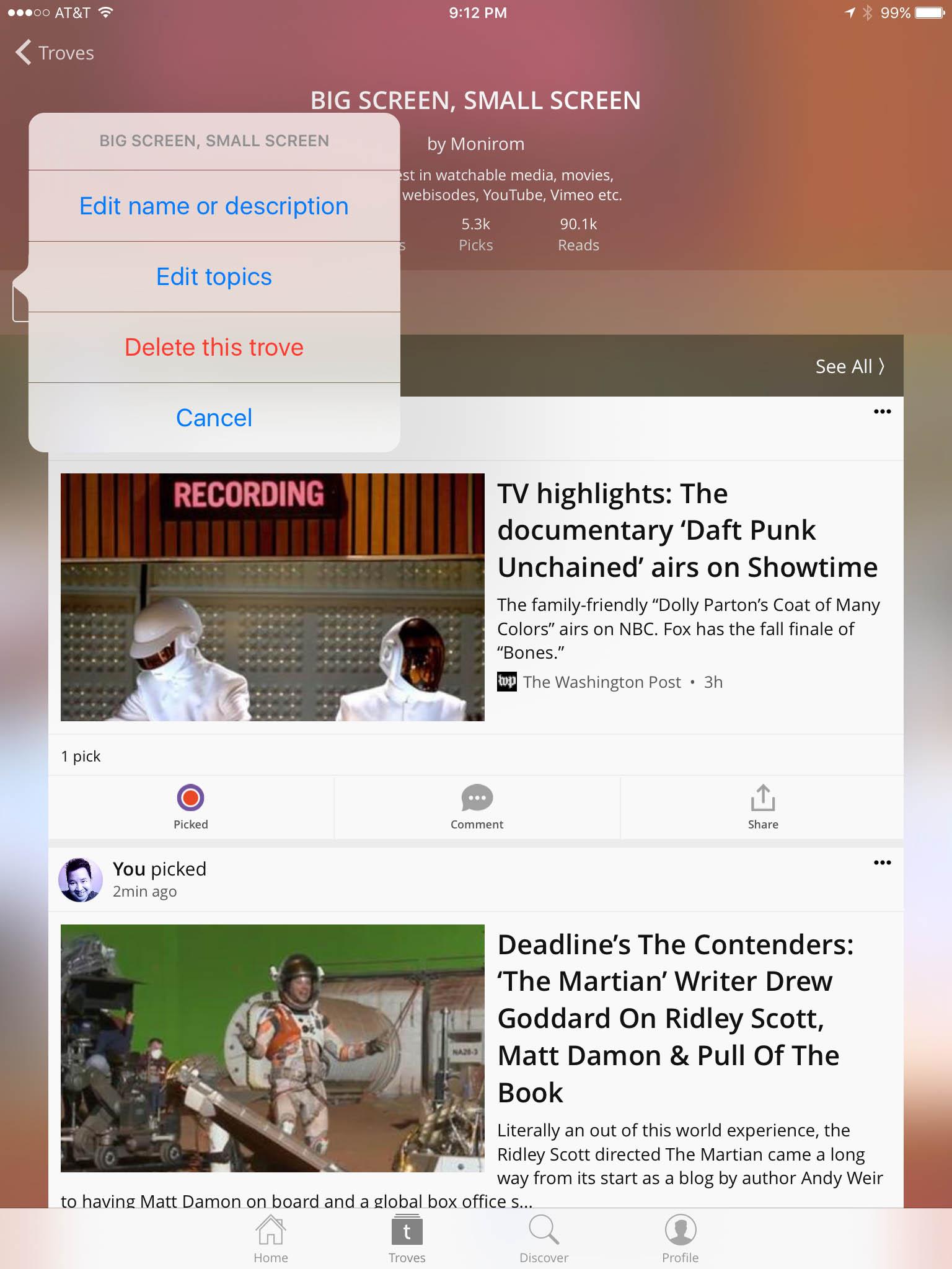 iOS: Edit Trove Topics