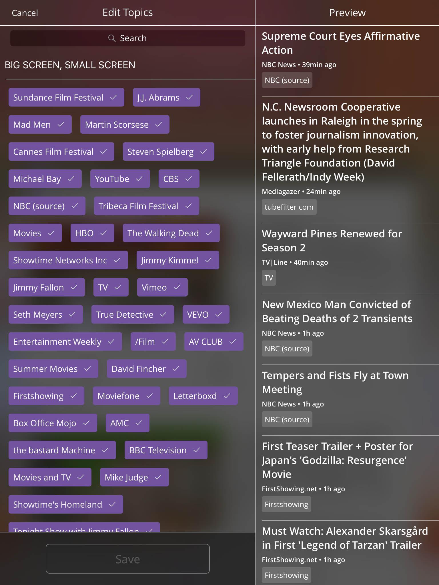 iOS: Topic Editing, Real Time Feedback