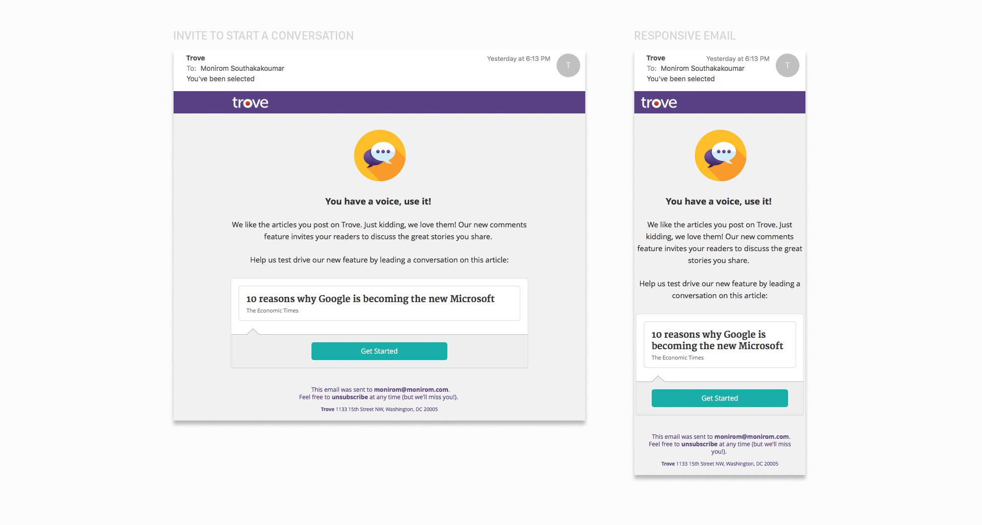 Convo Start Invites Example