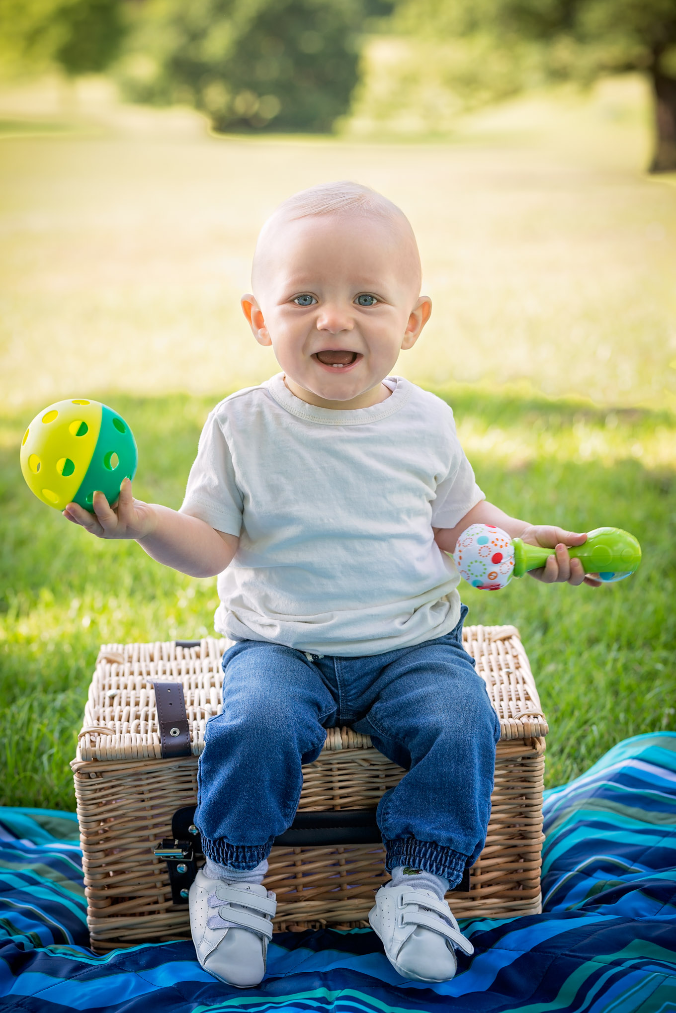 Little boy sat on picnic basket | Children's Photography