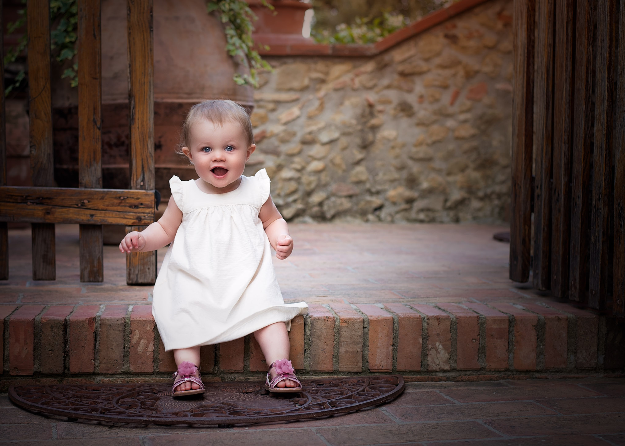 On the steps at a Tuscan Vineyard | Children's Photography