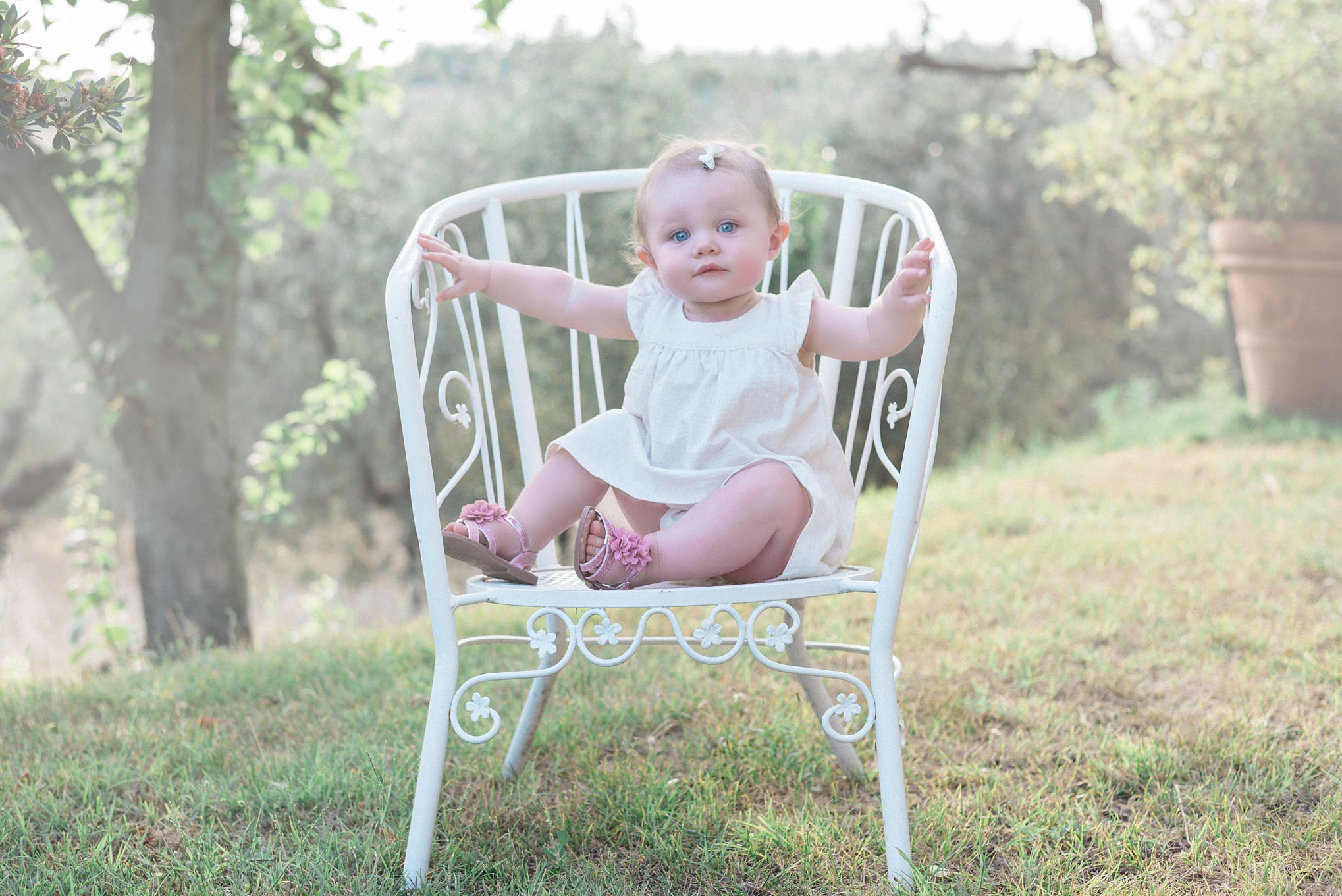 Toddler sat on chair in Tuscany | Children's Photography