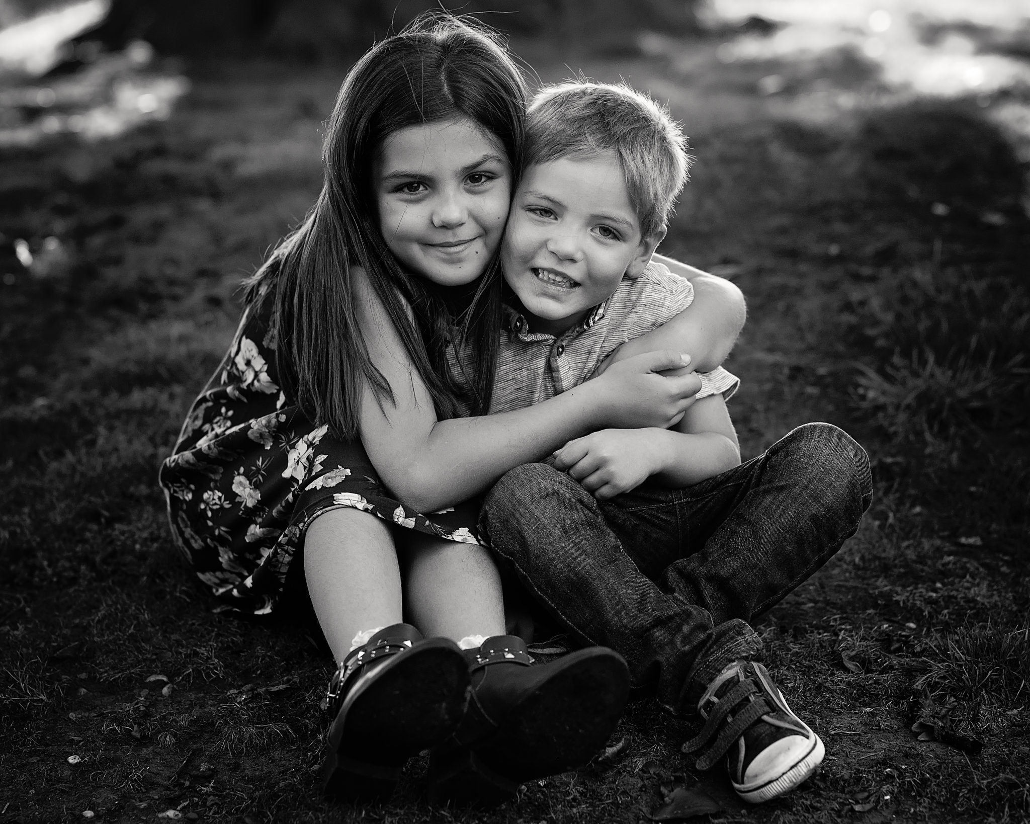 Brother and sister hugging | Children's Photography