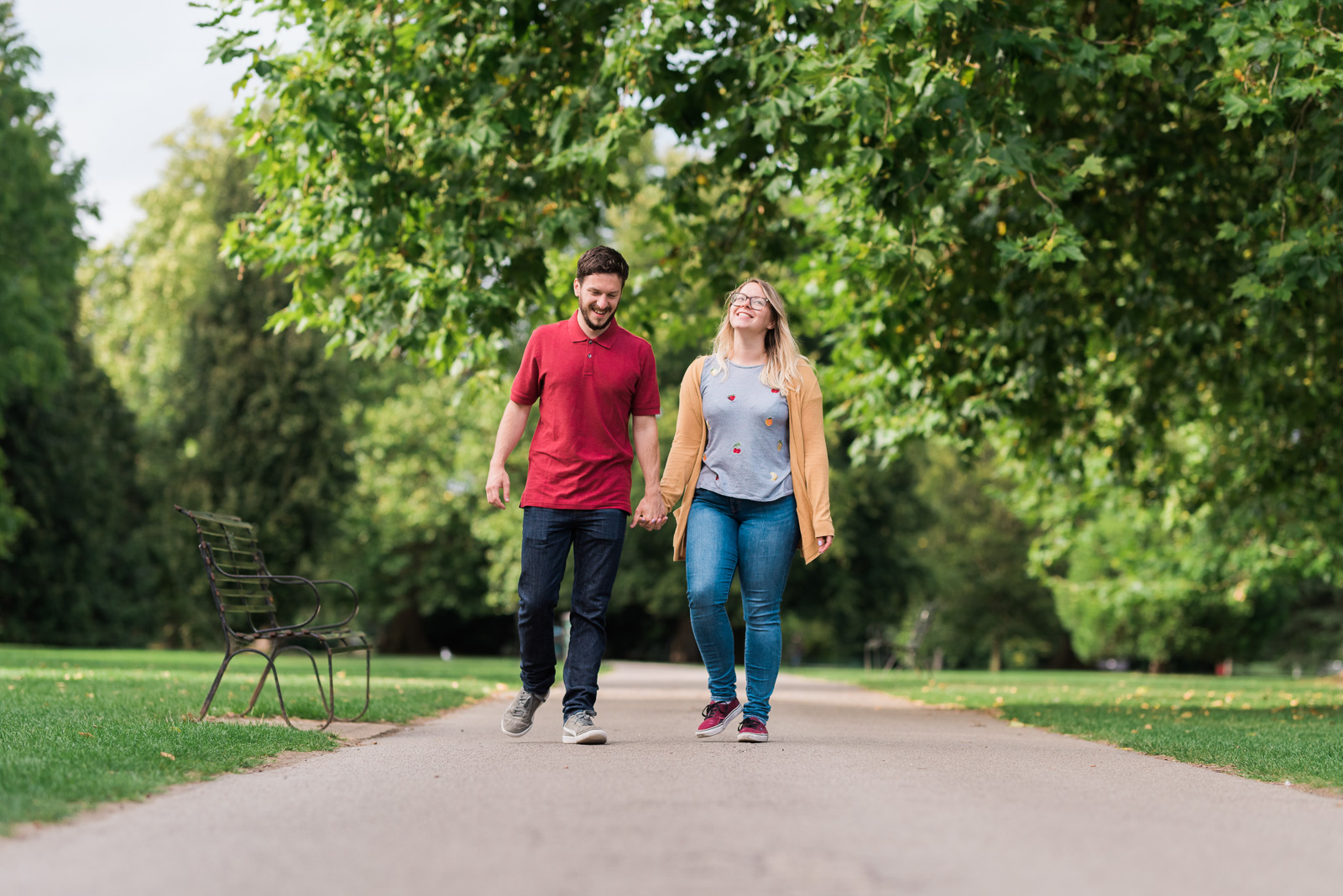 Taking a stroll at Pittville Park - Cotswolds Wedding Photographer