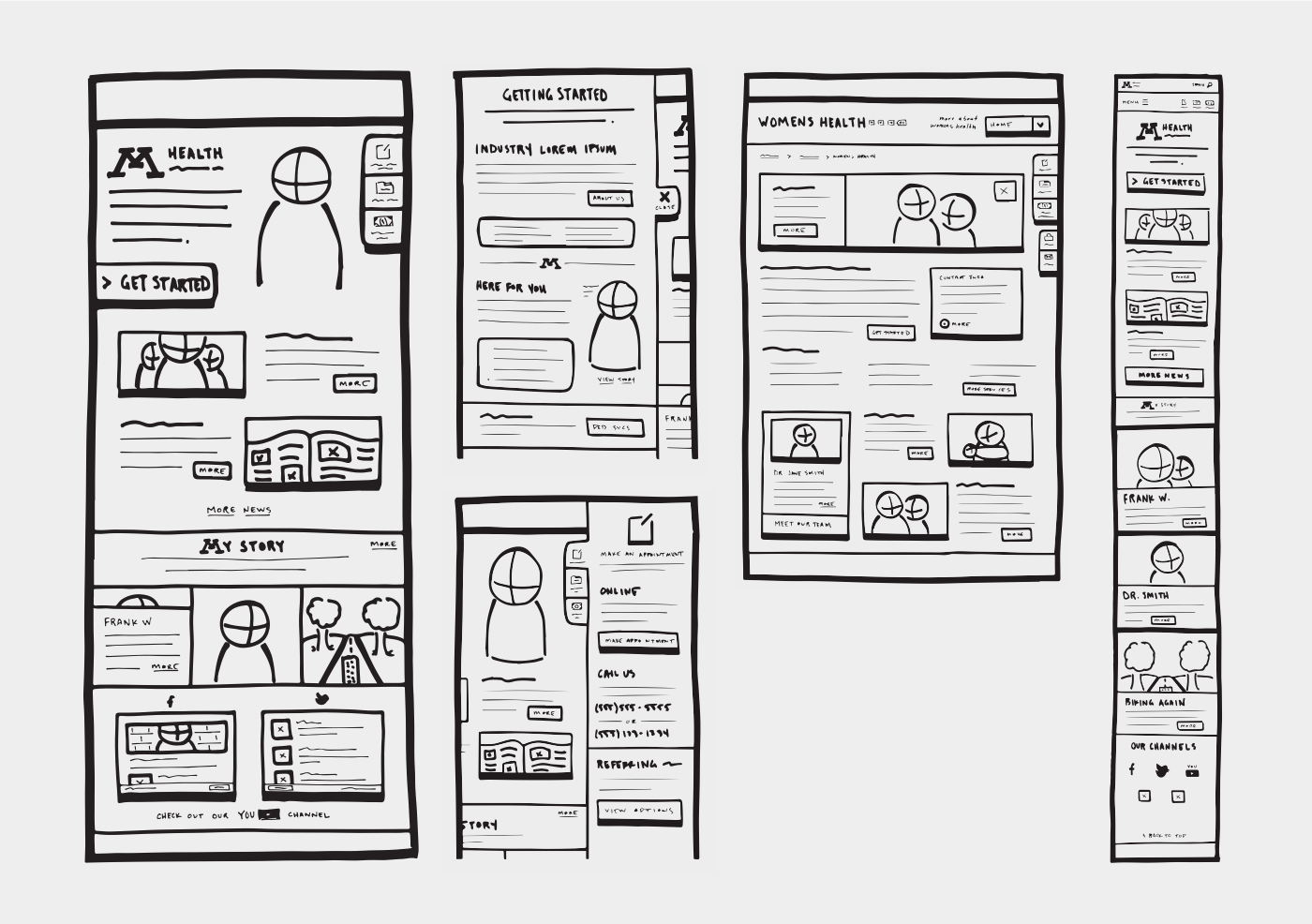 Sample sketch artifacts from the UX process.