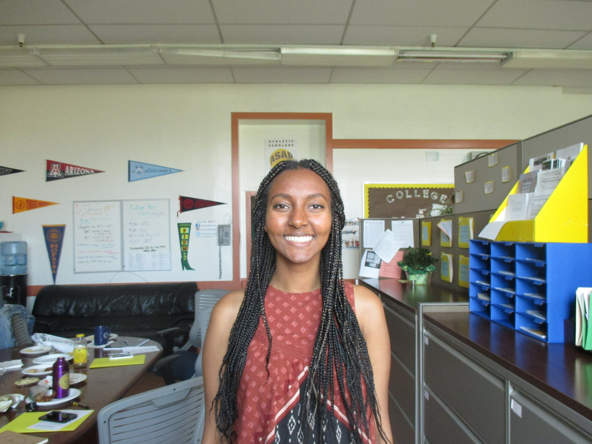Ruta Gebrihiwet is a 2013 ASAP graduate. She graduated from UC Santa Barbara with a History Degree. She is a Promise Scholar and is currently a College Success Advisor.