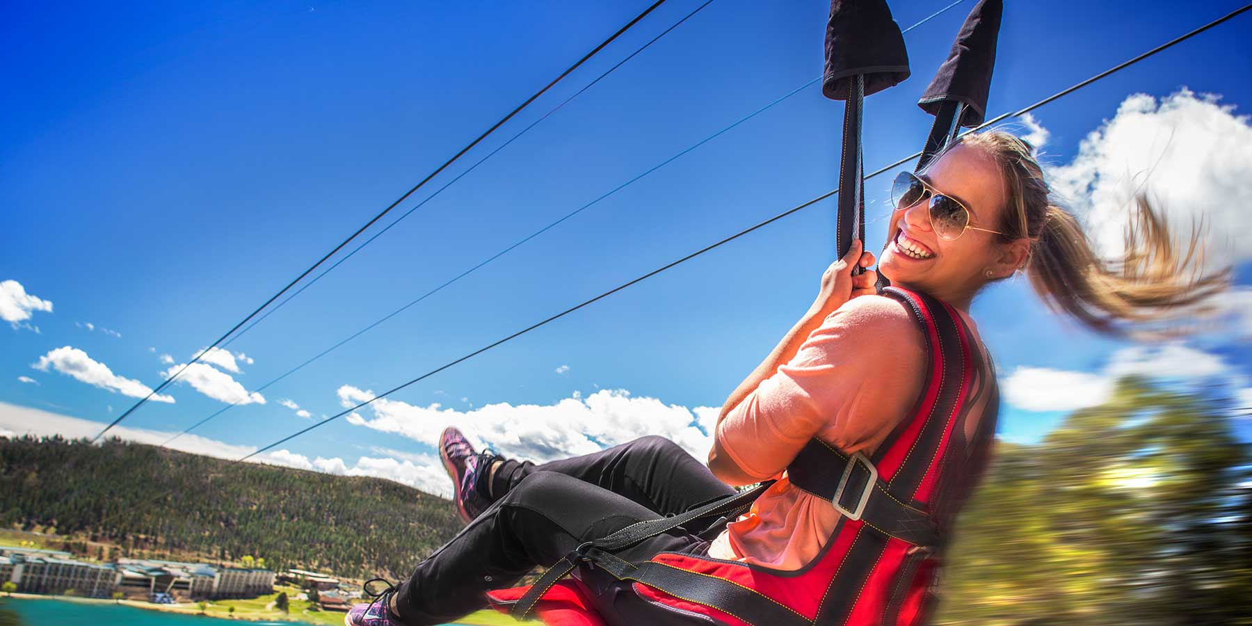 Take in the breathtaking views of Inn of the Mountain Gods as you glide over the crystal waters of Lake Mescalero. Offering parallel cables so riders can enjoy the view side-by-side.