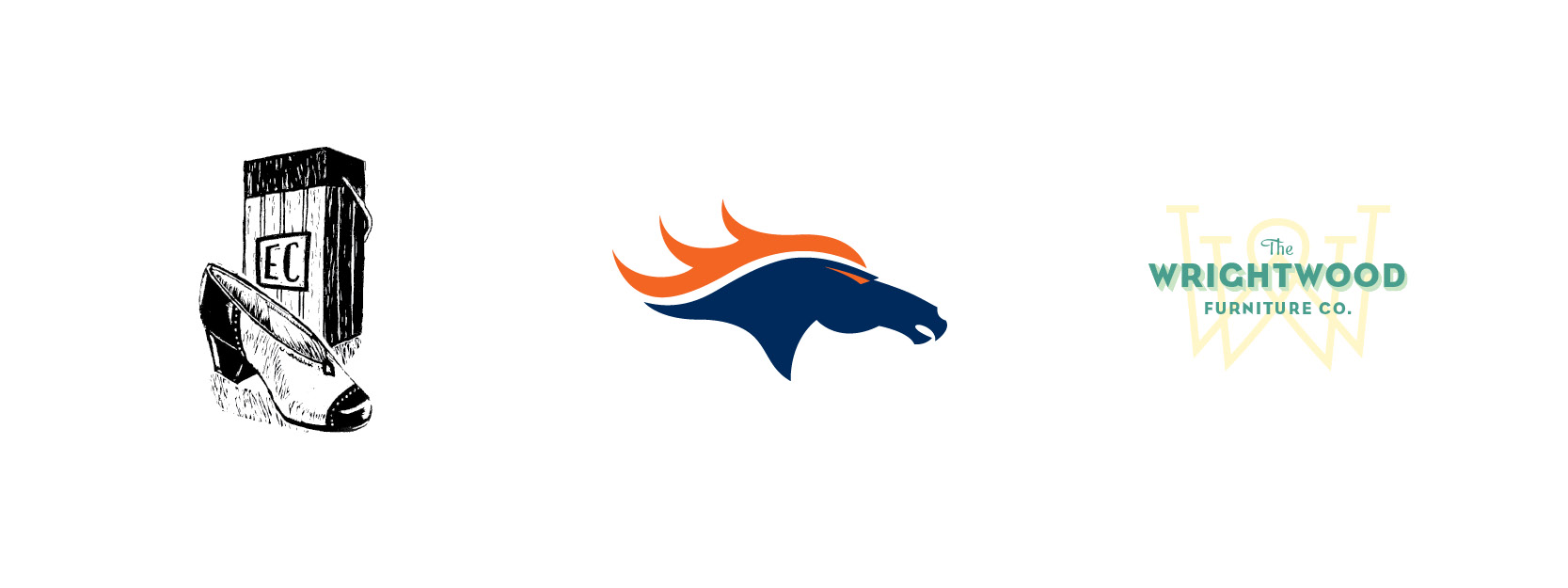 Personal Ex Libris, Denver Broncos rebrand for  Command X ,  Wrightwood Furniture  concept