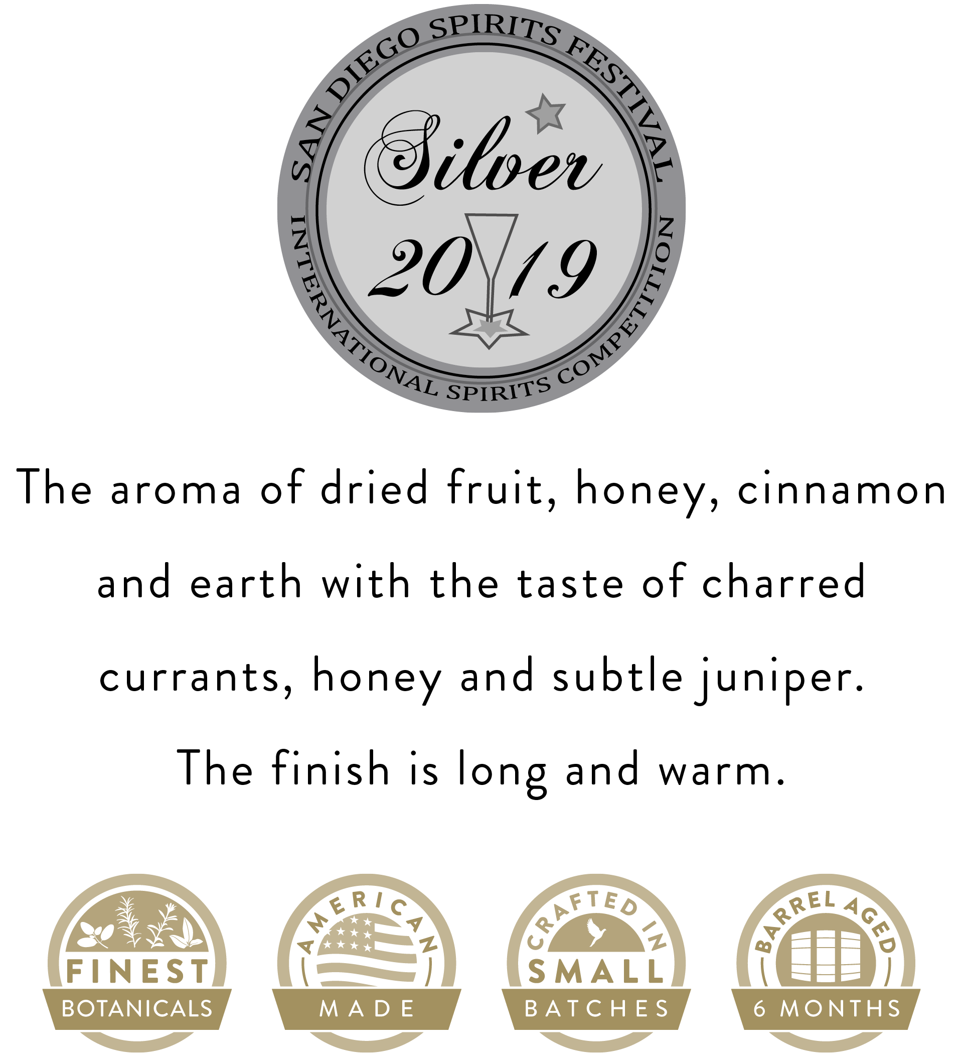 American made, Crafted in small batches and 2019 Silver Award from the San Diego Spirits Festival International Spirts Competition