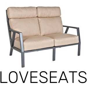 Deep seating, cushioned loveseats for your patio. Durable for all weather, in the rain, sun, and hail.