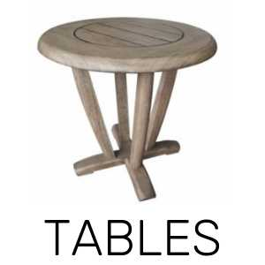 Patio and outdoor dining tables, coffee tables, corner tables, and sectional tables.