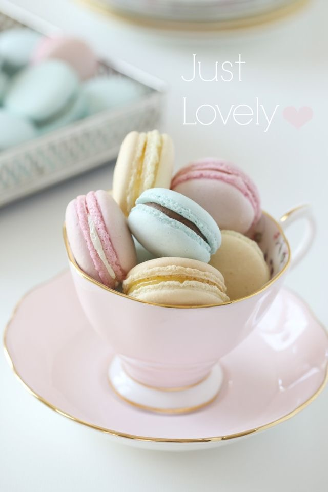 Photo Credit Royal Albert UK. The lovely Rose Confetti Teacup, filled with a delightful collection of perfect pastel macarons.