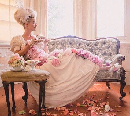 """The 'peony dreams"""" of Mayflowers Vintage Florist in this beautiful photo by Little Black Bow Photography, remind me of our 'pastel perfection' fashion shoot this past weekend. #fashionshootfeels"""