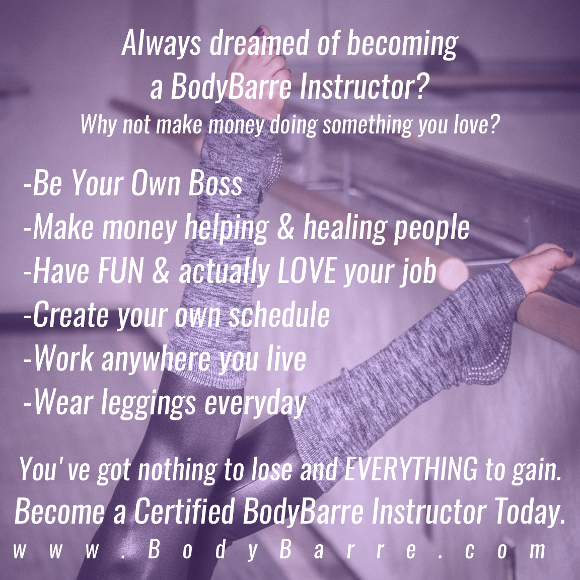 PERKS OF BEING A BODYBARRE INSTRUCTOR