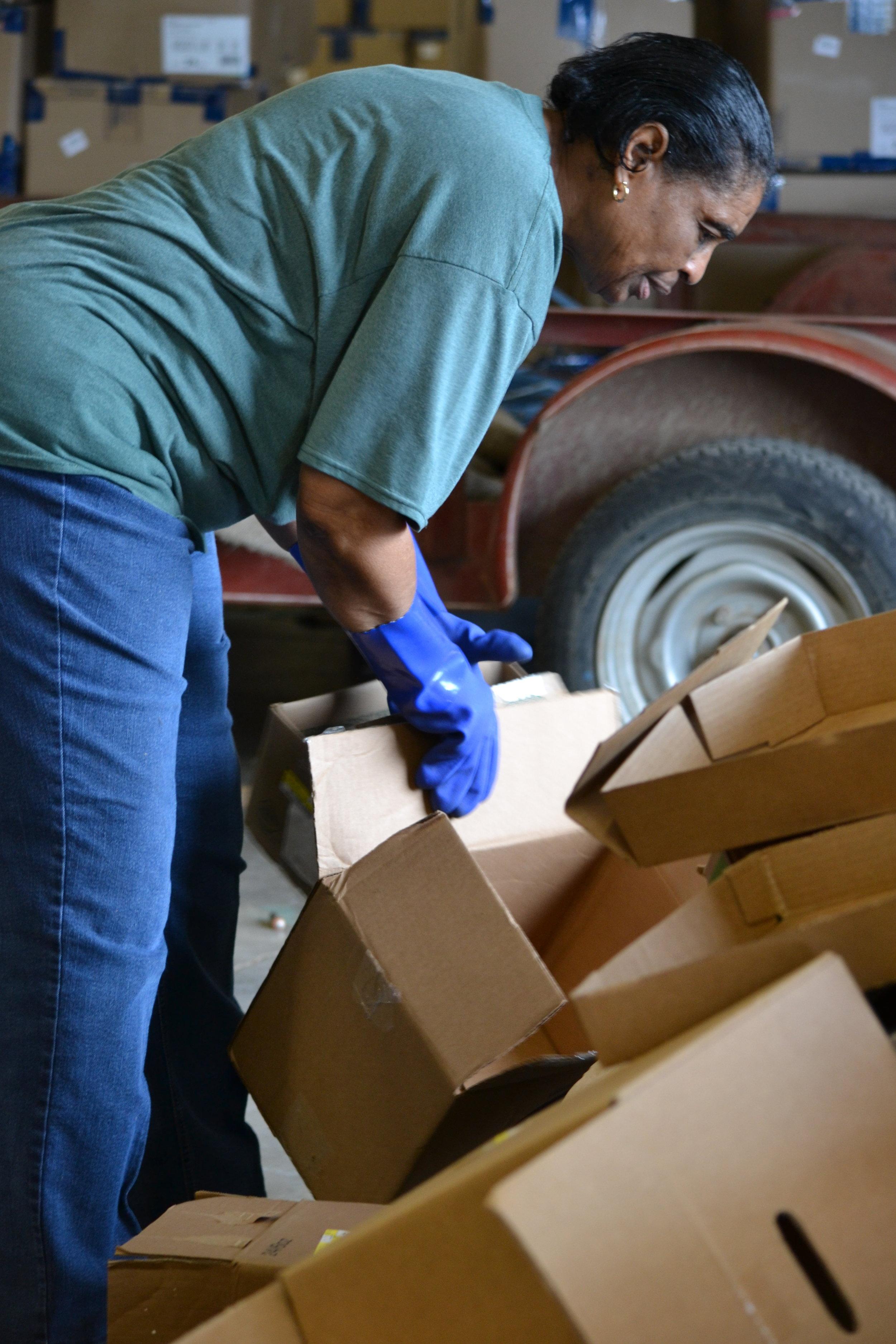 Rita unloading boxes