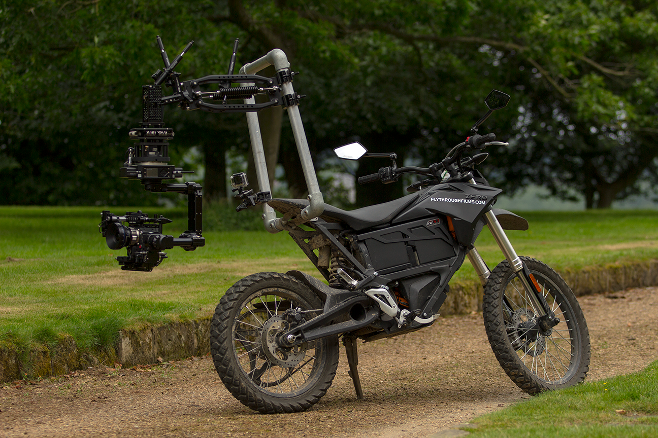 Motorcycle Mounted Flowcine Black Arm with NEWTON 3-axis stabilized remote head.