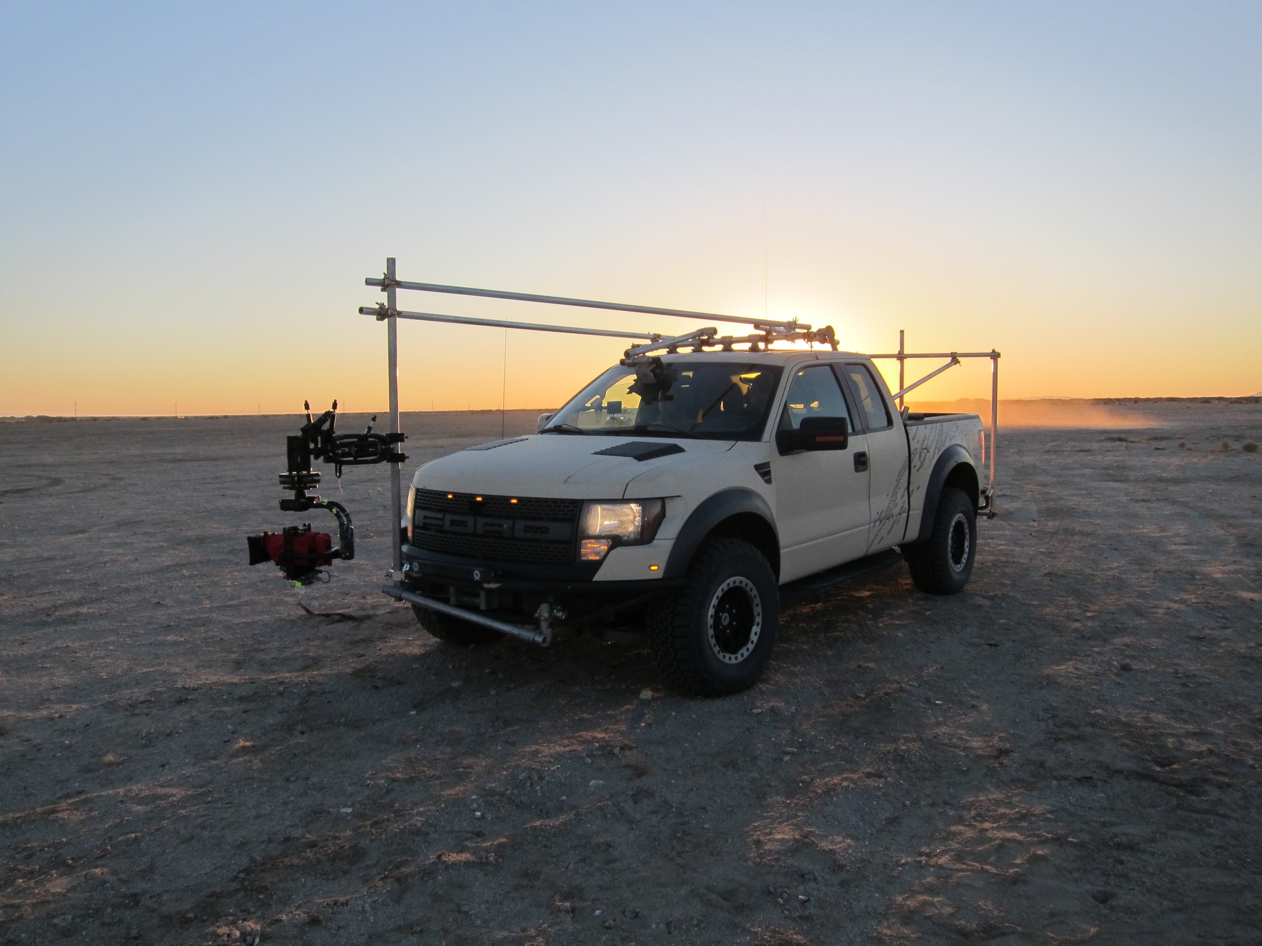 2006 Ford F150 Raptor with no luggage rack ready for shooting.  Movi Pro and Flowcine Black Arm.