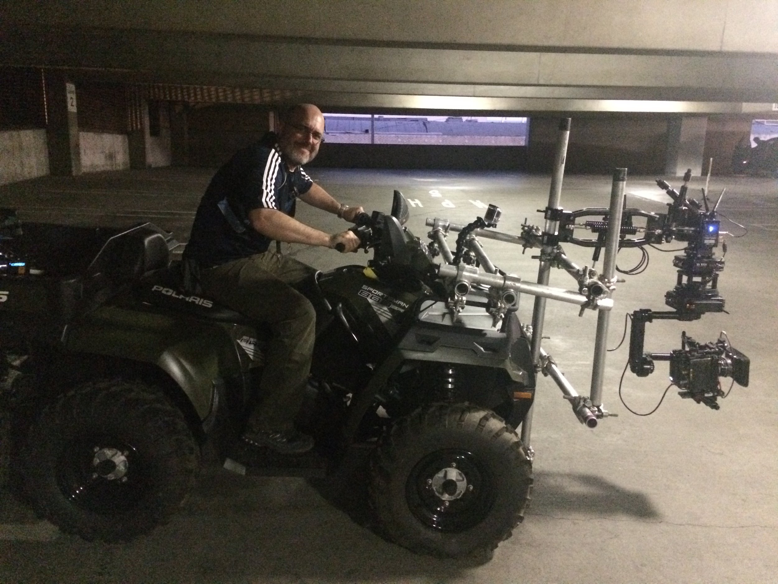 Polaris ATV with Flowcine Black Arm and NEWTON.  Eric controlled the camera 100% wirelessly as the stunt drivers chased the picture car through 4 levels of parking structure and out into the street.