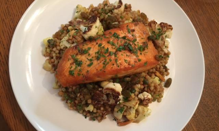 curried couscous with salmon and brown butter