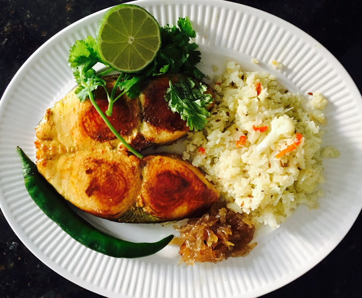 fried kingfish with cauliflower rice and white pumpkin murabba