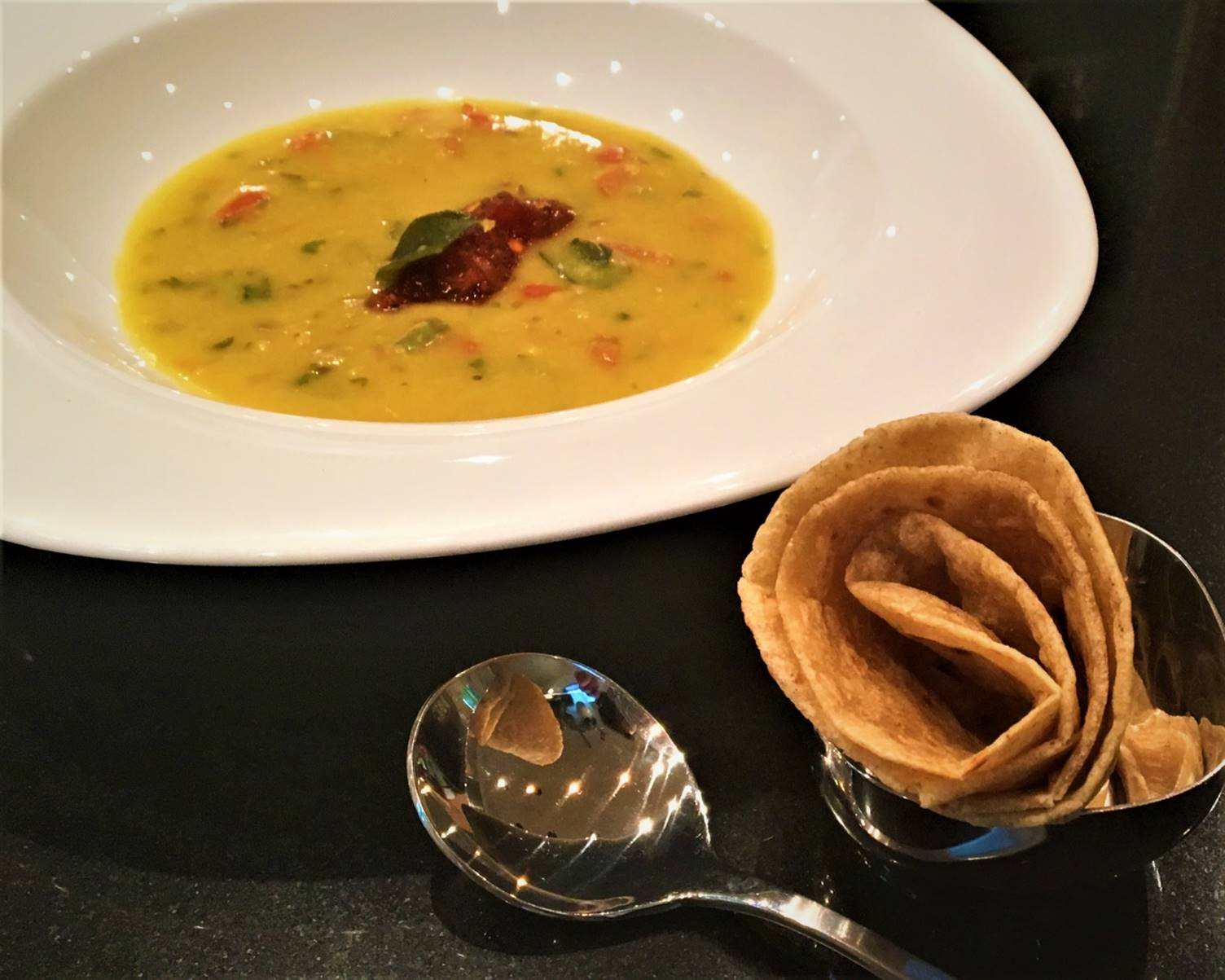 mulligatawny with sweet-n-sour tomato compote