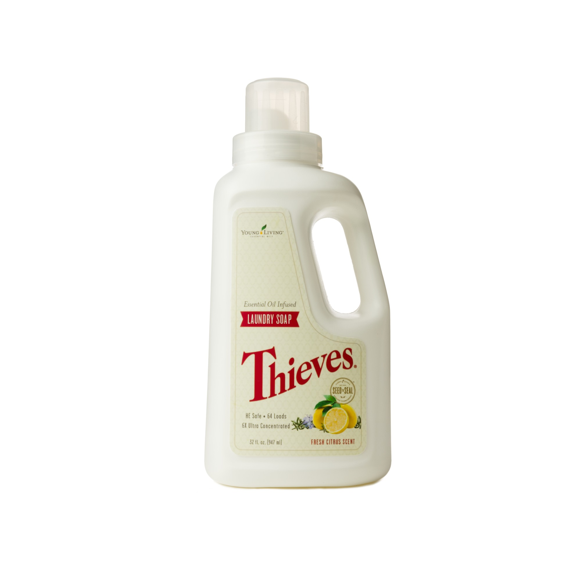 THIEVES LAUNDRY SOAP    Made up of plant-based ingredients and leaves no chemical or synthetic residue. Leaves clothes fresh and clean with a light citrus scent. Works in all types of washers, and can be used for up to 64 loads of laundry.   Click here   to read more extensively on this product.