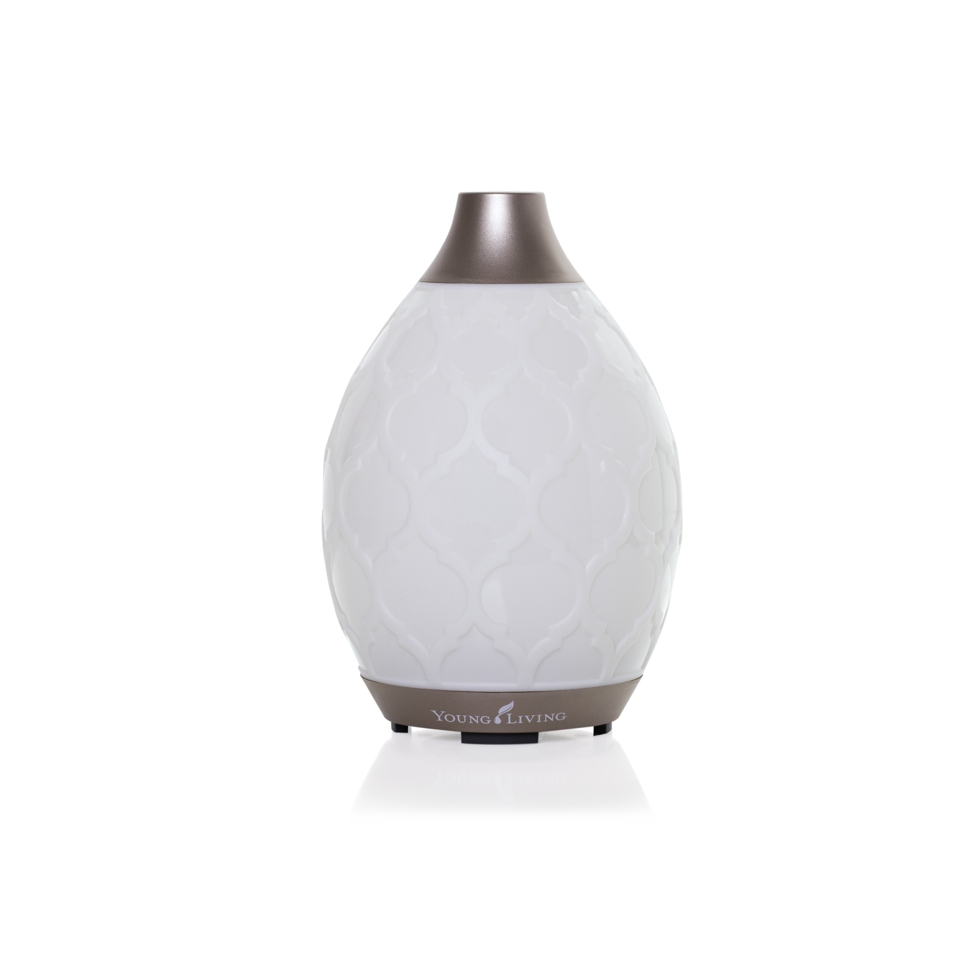 DESERT MIST DIFFUSER    This diffuser is one of the most popular Young Living has. The design features a romantic Moroccan trellis pattern. It functions as a humidifier, atomizer, and aroma diffuser. It is designed to run longer (up to 10 hours) and offer more features, including 10 LED colored light options and candle-like flicker mode. Comes with a 5ml bottle of Tangerine and Peppermint essential oils.   Click here   to learn more about this product.