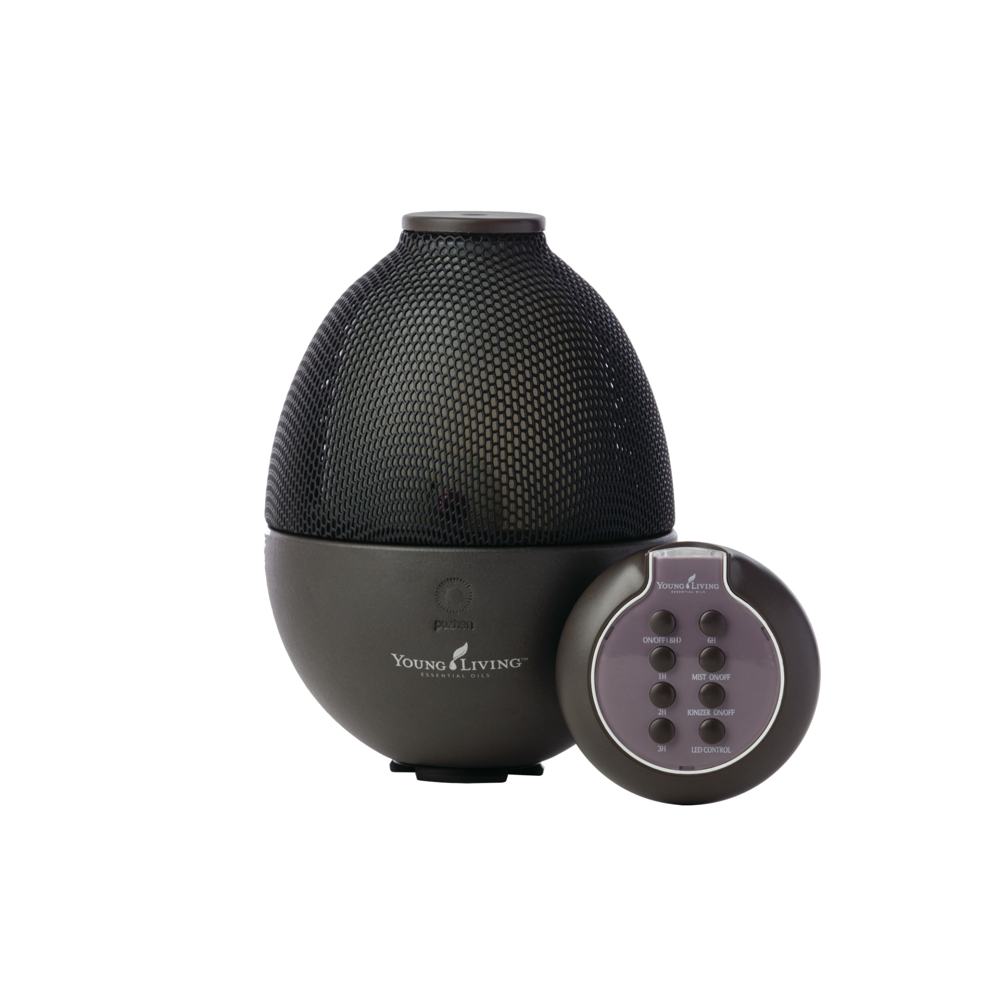RAINSTONE DIFFUSER    This diffuser is a popular one for the home, and its sleek design is also a favorite for men and women alike. It has multiple hour settings with automatic shutoff, five colorful LED light settings, a negative ionizer, and a remote control. Comes with a 5ml bottle of Tangerine and Peppermint essential oils.   Click here   to learn more about this product.