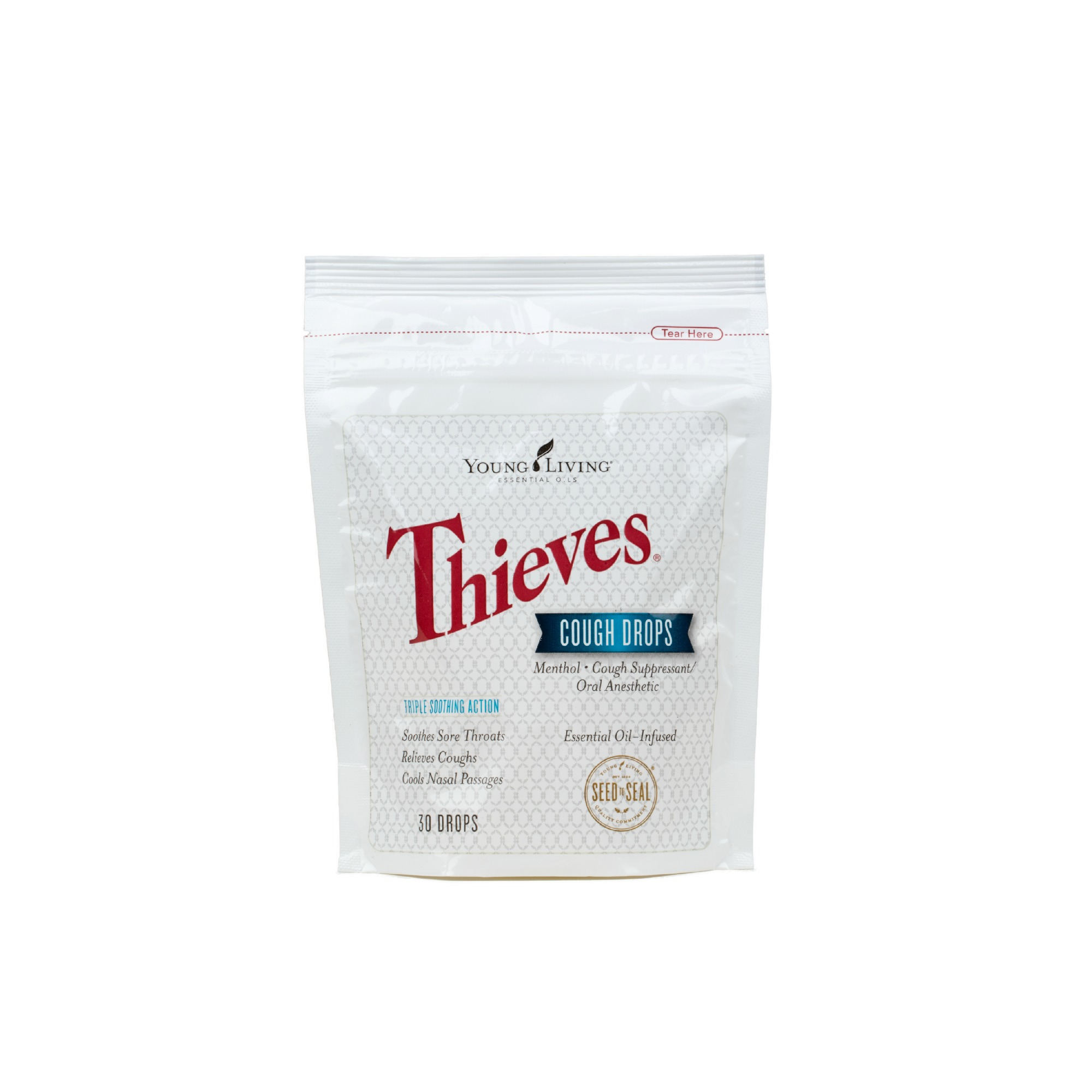THIEVES COUGH DROPS    Experience the power of Thieves and menthol in a cough drop! Offers comfort by relieving coughs, soothing sore throats, and cooling nasal passages. Minty, spicy, and sweet without processed sugar, dyes, artificial flavors, or preservatives, these cough drops are made with naturally derived ingredients, including Young Living's pure, therapeutic-grade essential oils and menthol from Peppermint.   Click here   to learn more about this product.