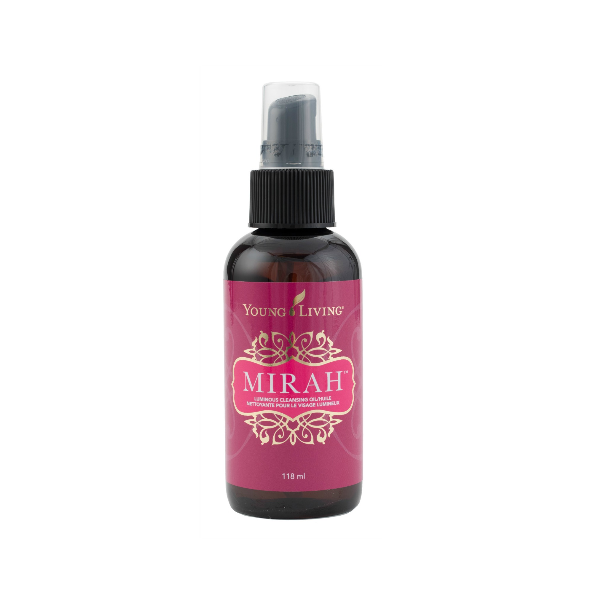 MIRAH LUMINOUS CLEANSING OIL    Formulated with ten essential oils, including Rose and Ylang Ylang, as well as ten moisturizing carrier oils, like jojoba and argan, this facial cleanser removes pore-clogging impurities without stripping away the natural oils your skin needs. It also leaves your skin with a natural, moisturized, healthy glow. Simply massage into skin to dissolve makeup and other impurities, and rinse with water.   Click here   to learn more about this product.