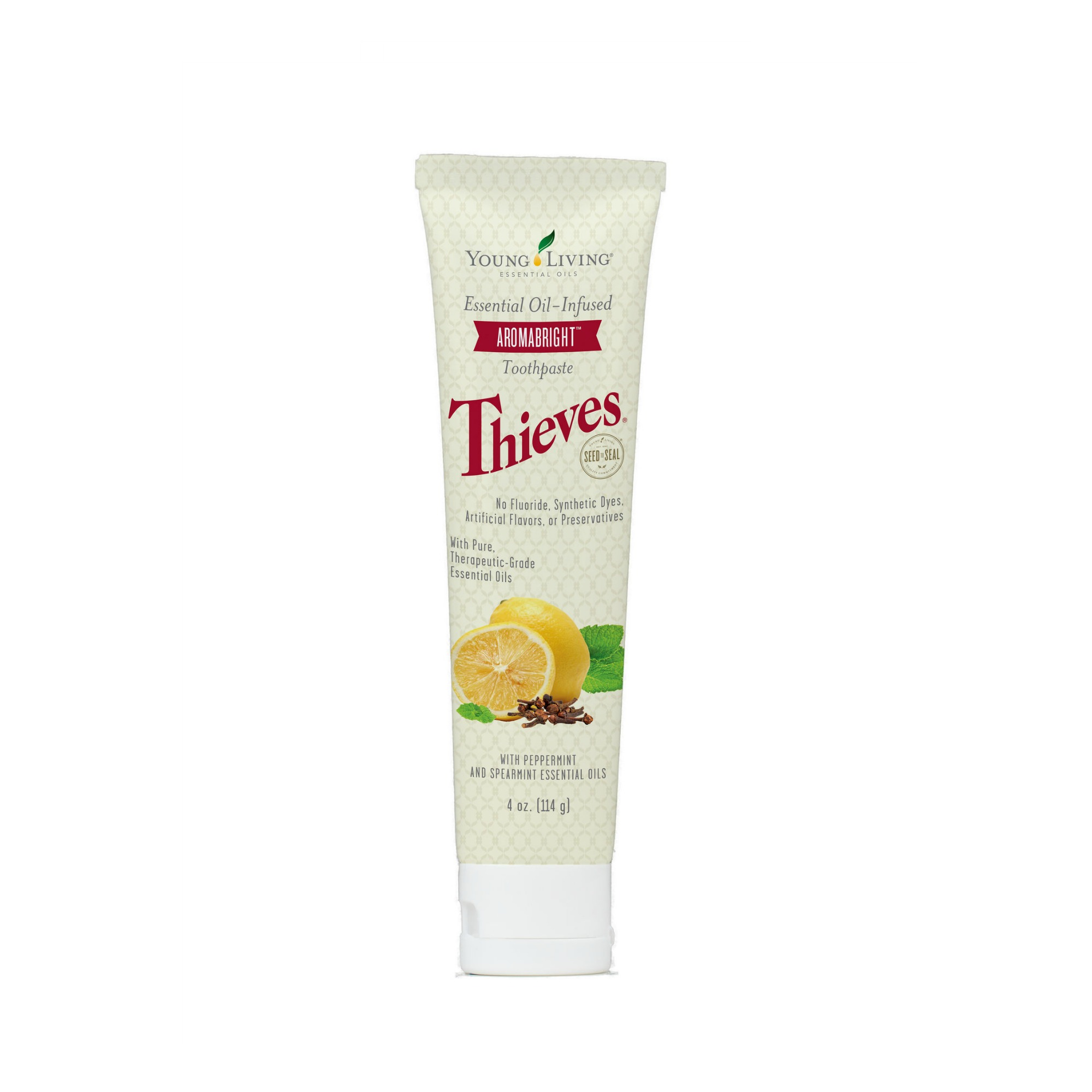 THIEVES AROMABRIGHT TOOTHPASTE    Combining the benefits of our Dentarome Plus and Dentarome Ultra Toothpaste, AromaBright gently brushes away daily buildup and helps combat the effects of unsightly staining. This one has more of a citrusy spearmint taste to it. It's great for cleansing without the toxins, but also popularly known for its whitening properties!   Click here   to learn more about this product.